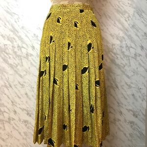 Vintage Pleated Skirt Mustard/black Size Small